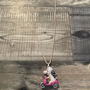 Betsey Johnson poodle on scooter necklace